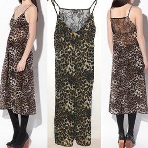 Sparkle & Fade Satin Leopard Print Slip Dress